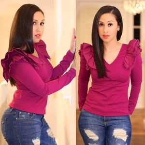 Ina Long Sleeve Top With Ruffles ( Plum )